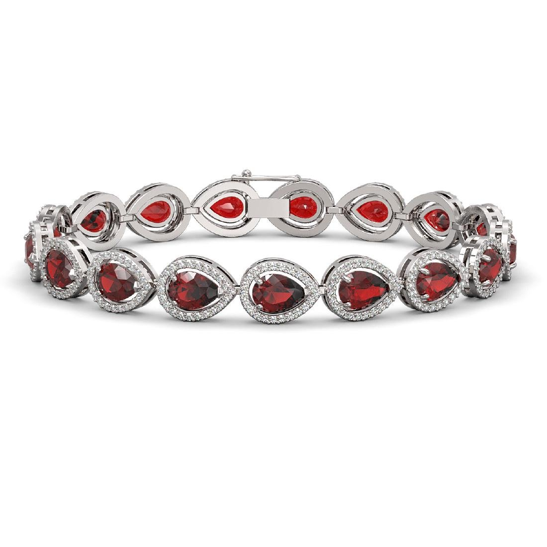 17.44 CTW Garnet & Diamond Halo Bracelet 10K White Gold