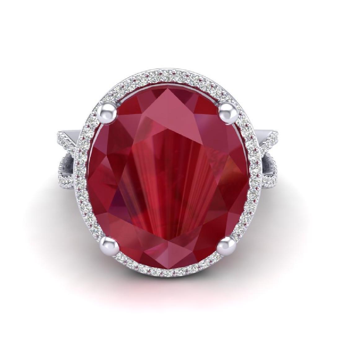 12 CTW Ruby & Micro Pave VS/SI Diamond Halo Ring 18K