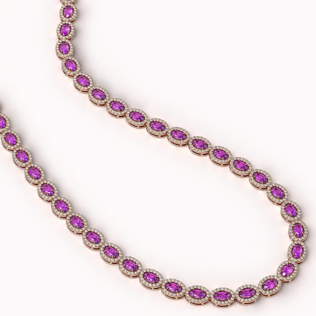 20.62 CTW Amethyst & Diamond Halo Necklace 10K Rose