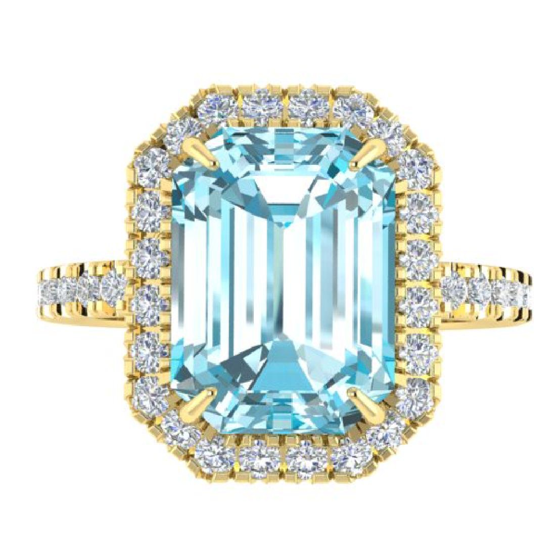 6.03 CTW Sky Blue Topaz & Micro Pave VS/SI Diamond Halo