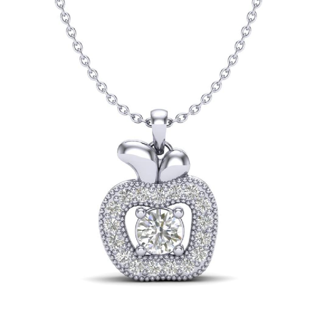 0.30 CTW VS/SI Diamond Micro Pave Halo Necklace 18K
