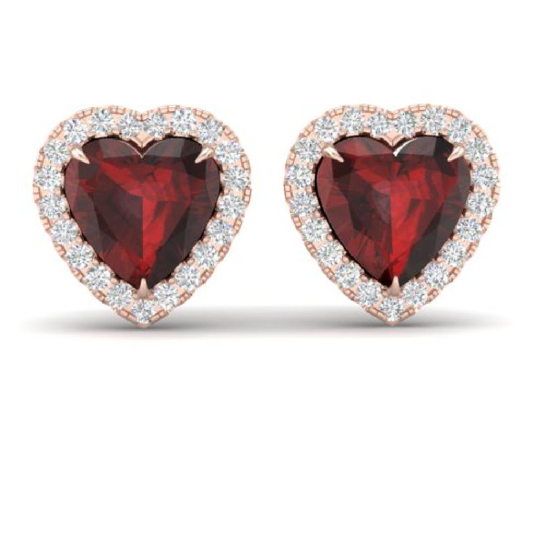 2.22 CTW Garnet & Micro Pave VS/SI Diamond Earrings