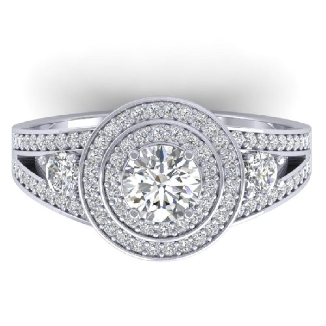 1.50 CTW Certified VS/SI Diamond Art Deco 3 Stone Halo