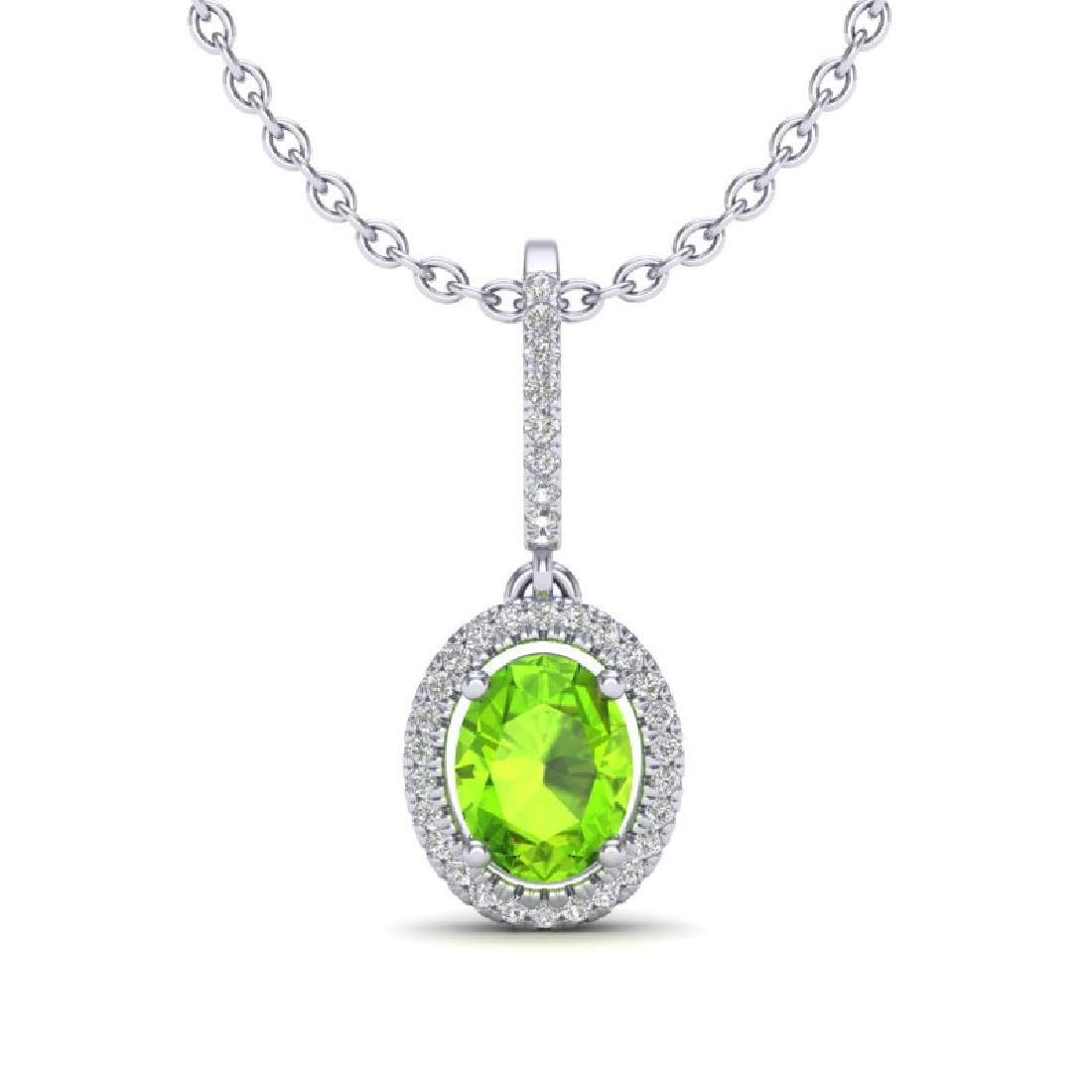 2 CTW Peridot & Micro Pave VS/SI Diamond Necklace