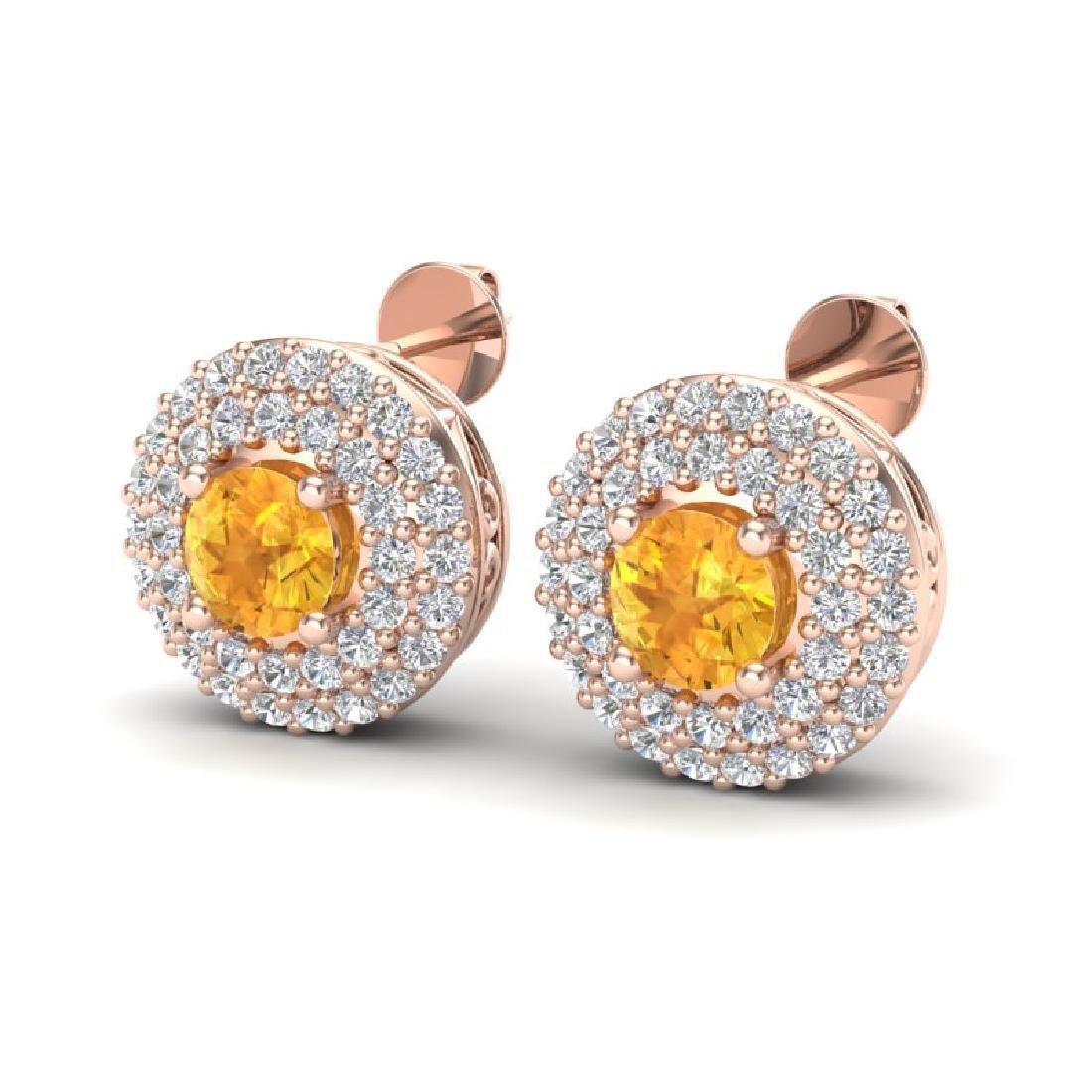 1.25 CTW Citrine & Micro Pave VS/SI Diamond Earrings