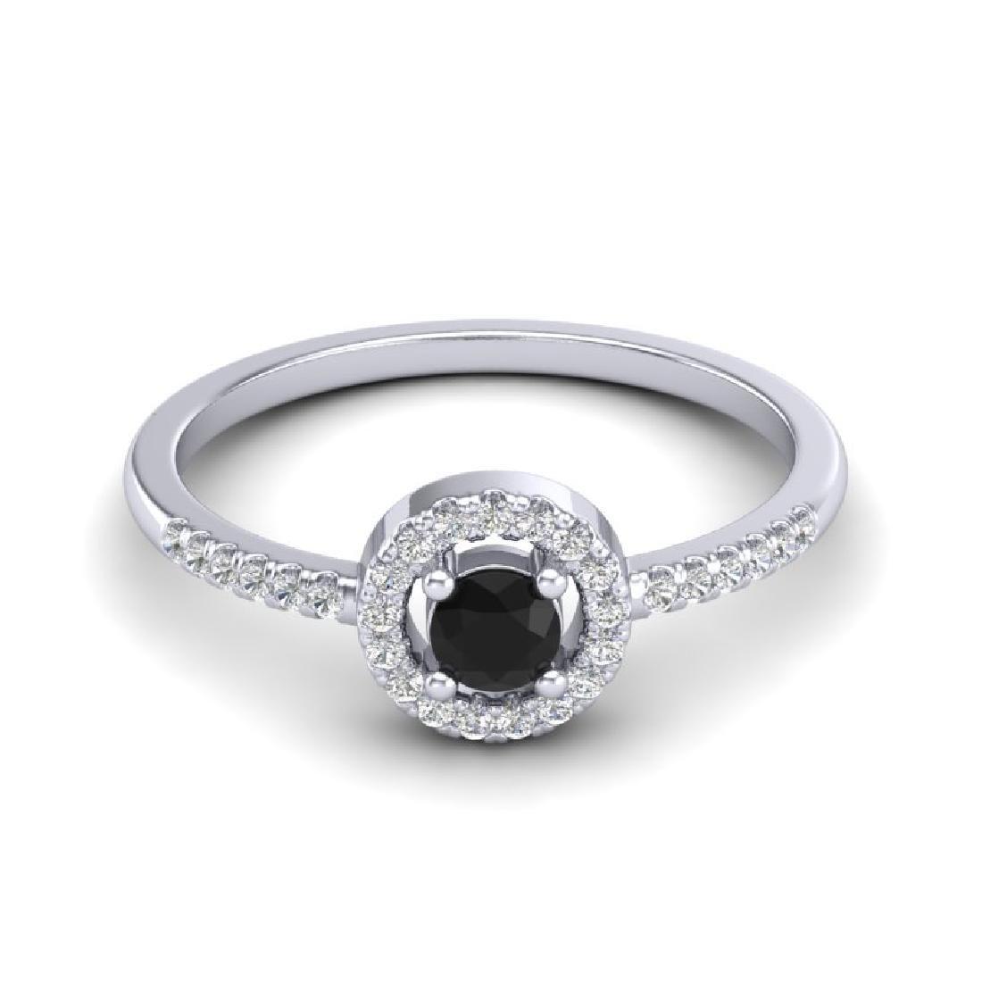 0.50 CTW Micro Pave VS/SI Diamond Ring Solitaire Halo