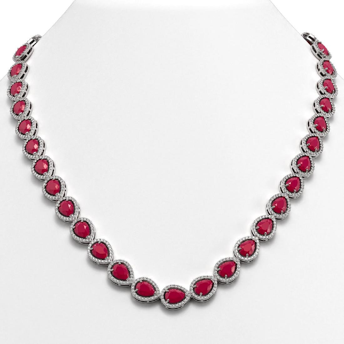 45.93 CTW Ruby & Diamond Halo Necklace 10K White Gold