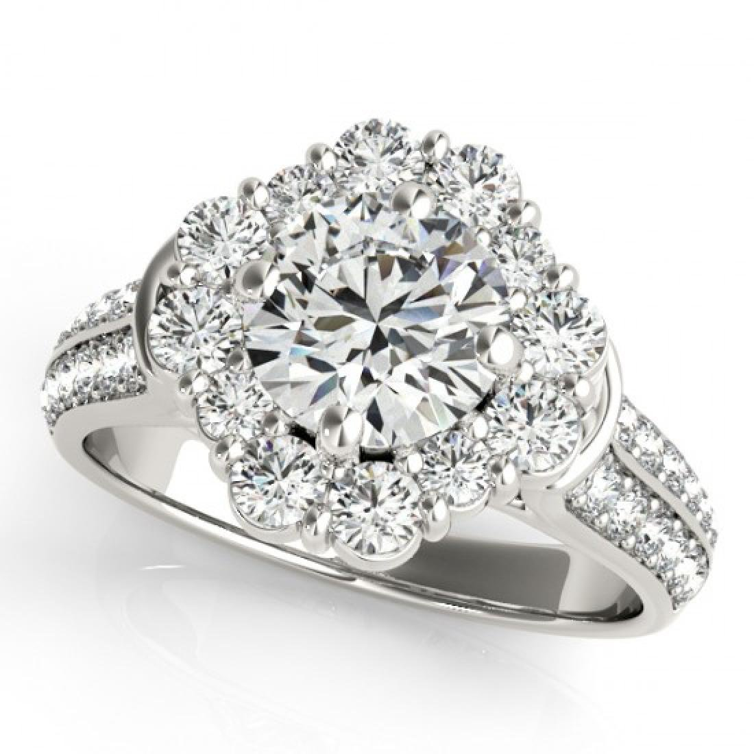 2.16 CTW Certified VS/SI Diamond Solitaire Halo Ring
