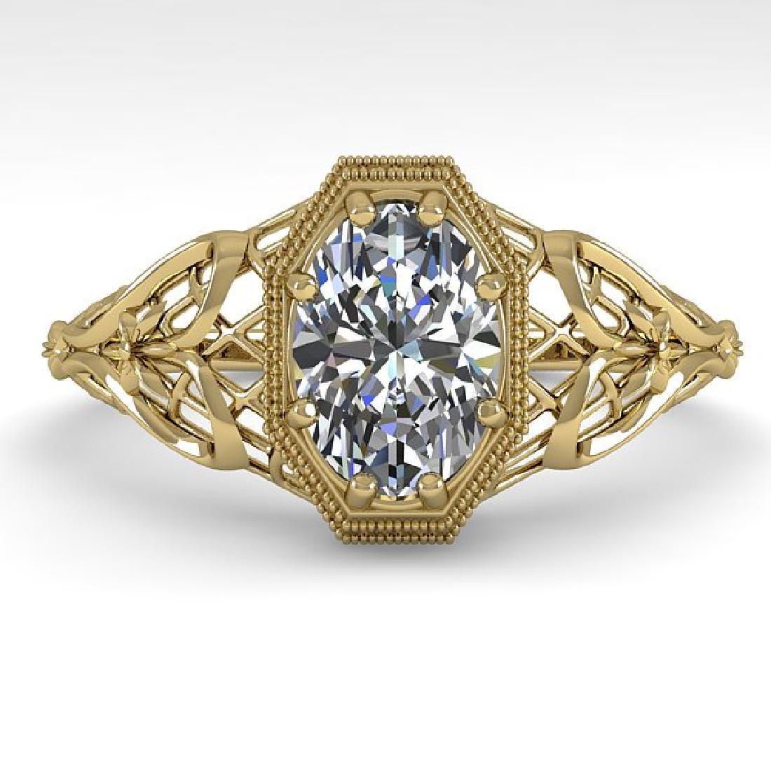 1.0 CTW VS/SI Oval Diamond Solitaire Ring Art Deco 14K
