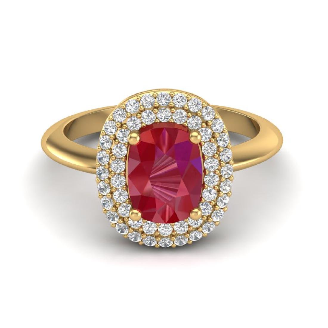 2.50 CTW Ruby With Micro VS/SI Diamond Ring Halo
