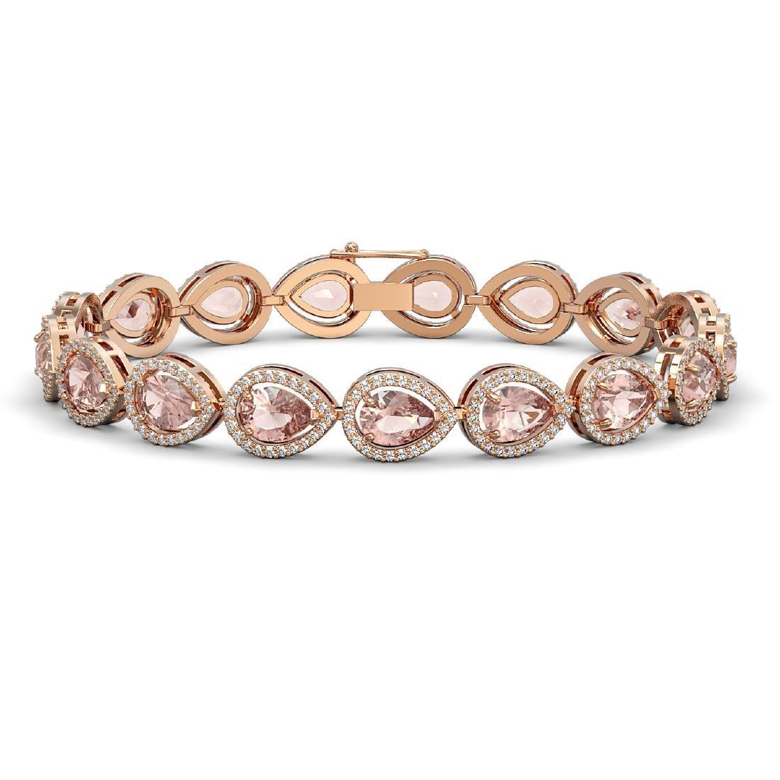 16.59 CTW Morganite & Diamond Halo Bracelet 10K Rose