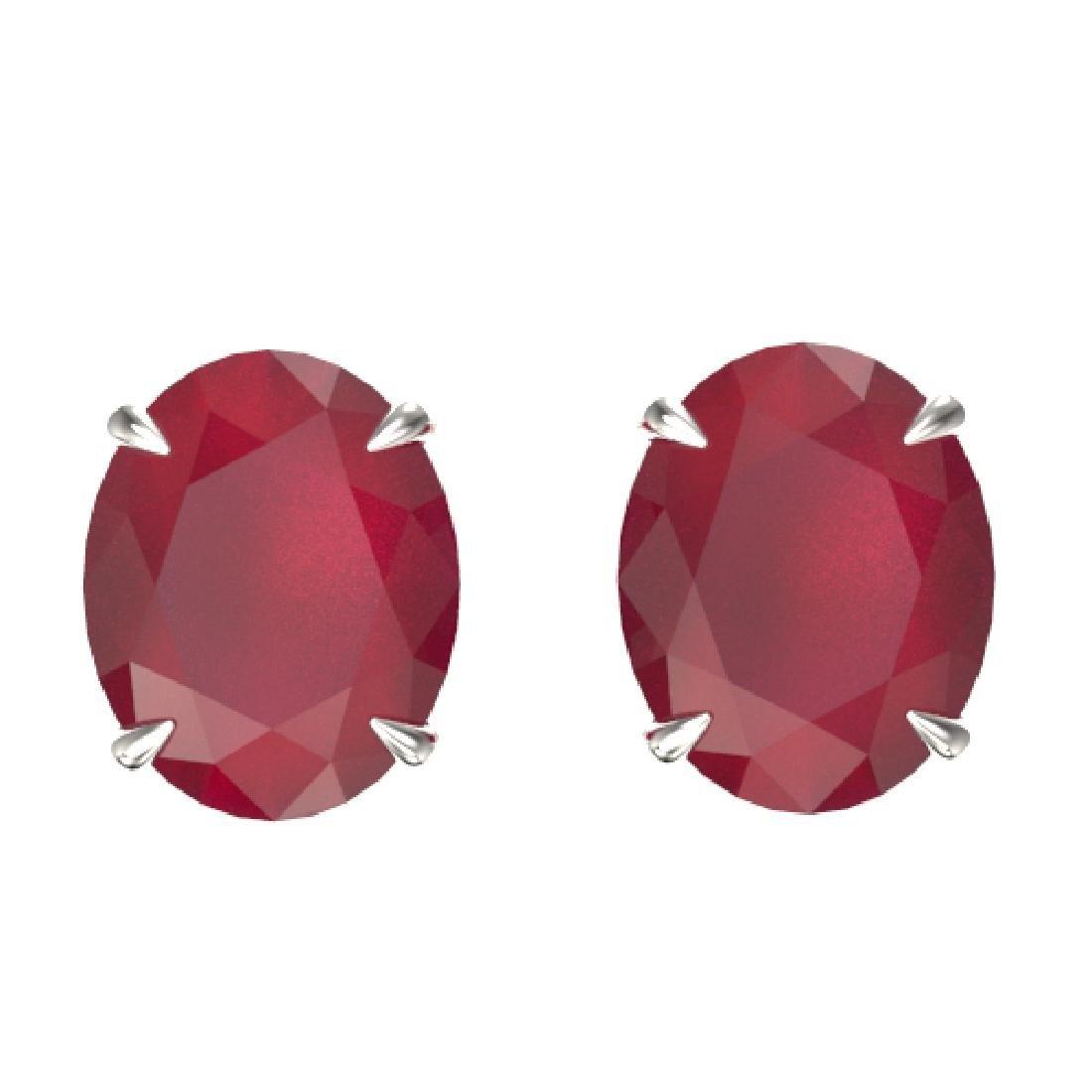 7 CTW Ruby Designer Inspired Solitaire Stud Earrings