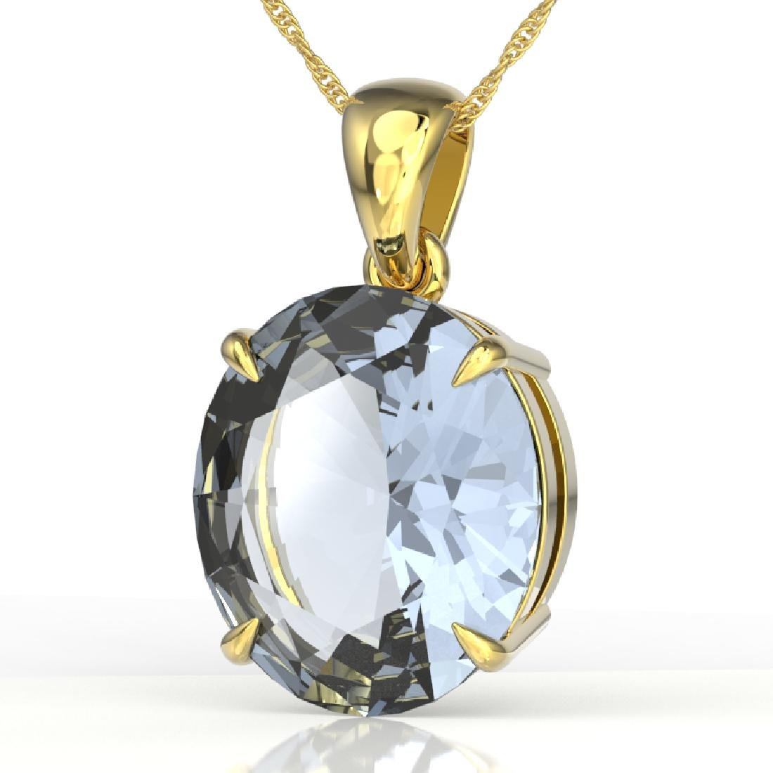 9 CTW Aquamarine Designer Solitaire Necklace 18K Yellow