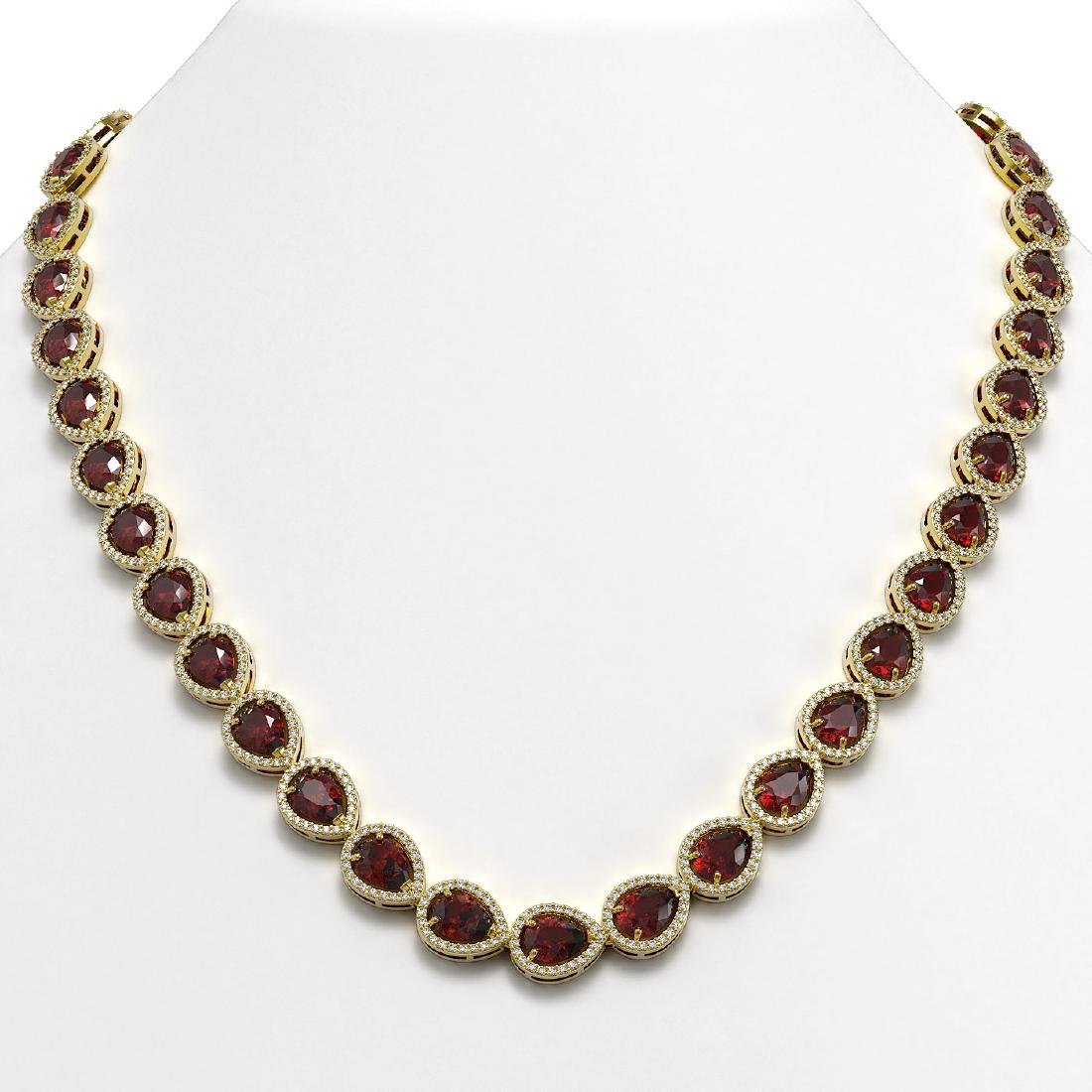 36.93 CTW Garnet & Diamond Halo Necklace 10K Yellow