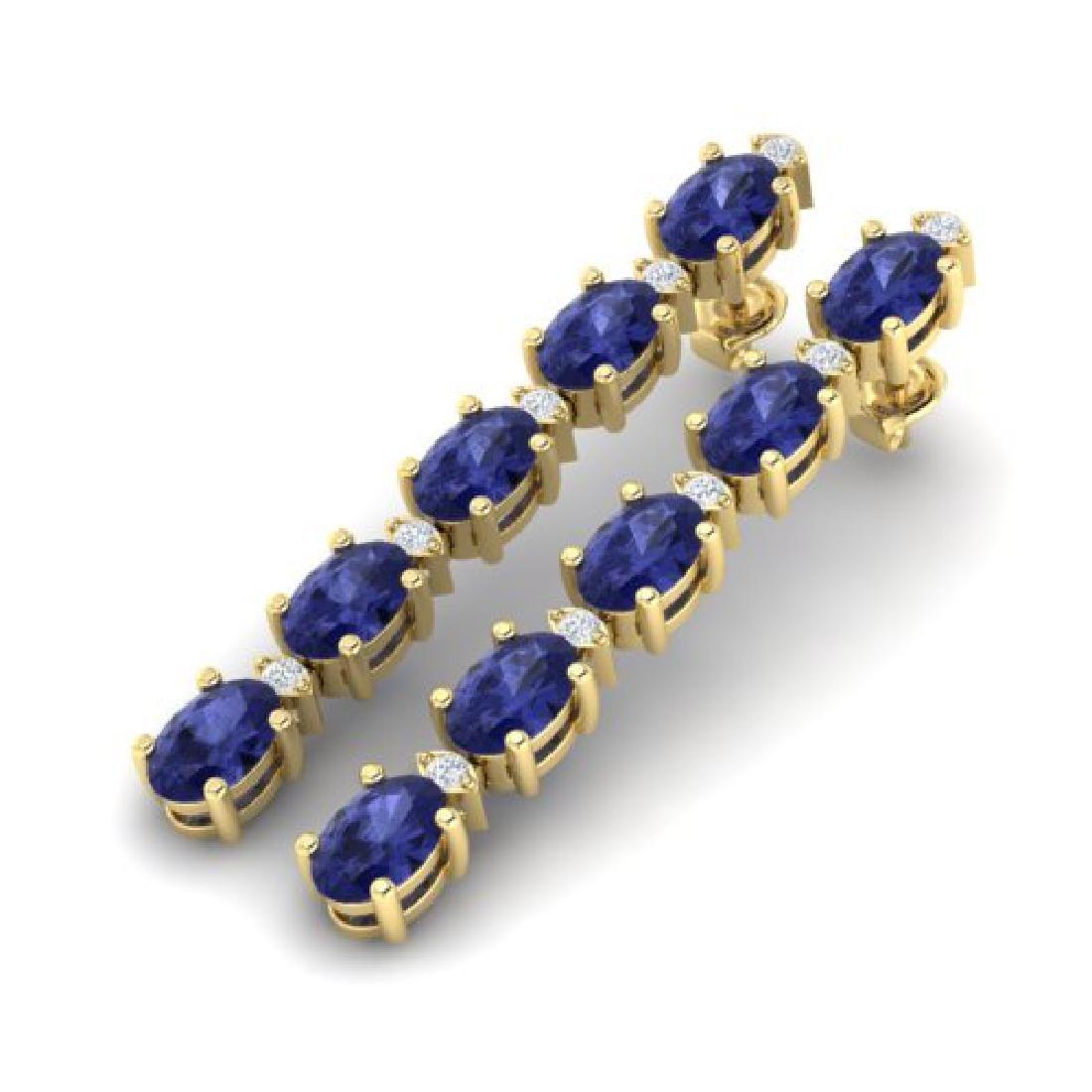 6 CTW Tanzanite & VS/SI Diamond Tennis Earrings 10K