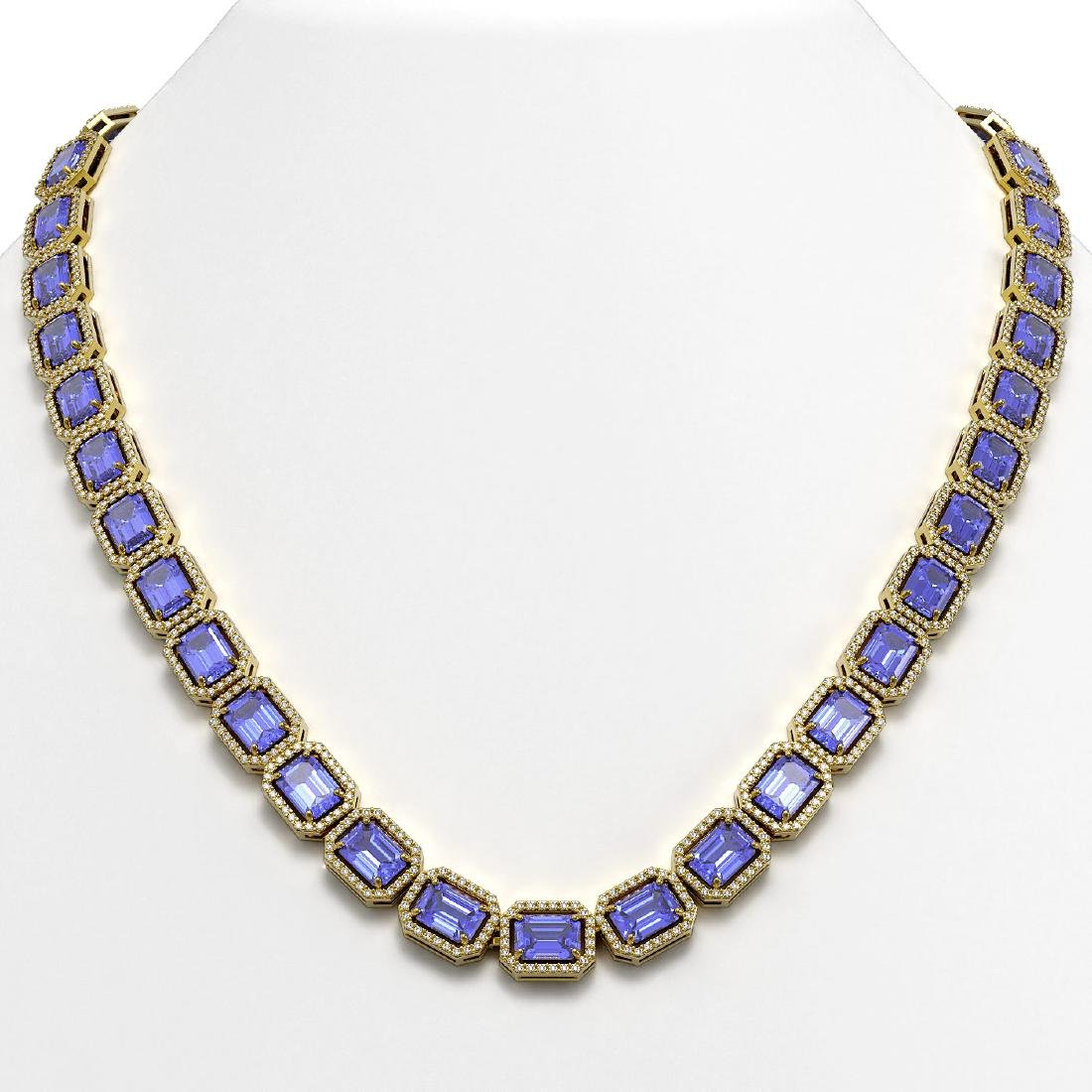 56.69 CTW Tanzanite & Diamond Halo Necklace 10K Yellow
