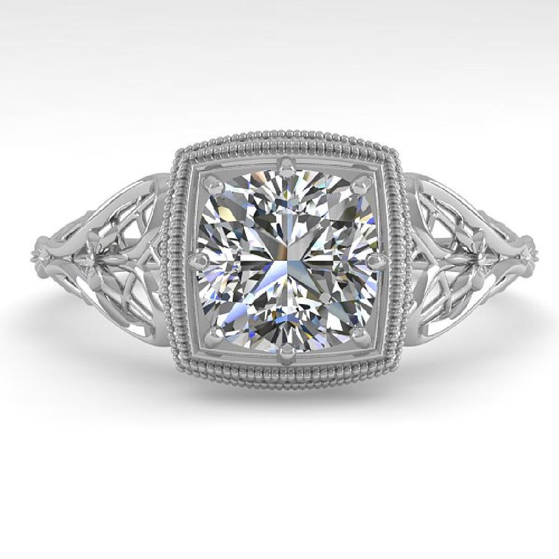 1.0 CTW Certified VS/SI Cushion Diamond Ring Art Deco
