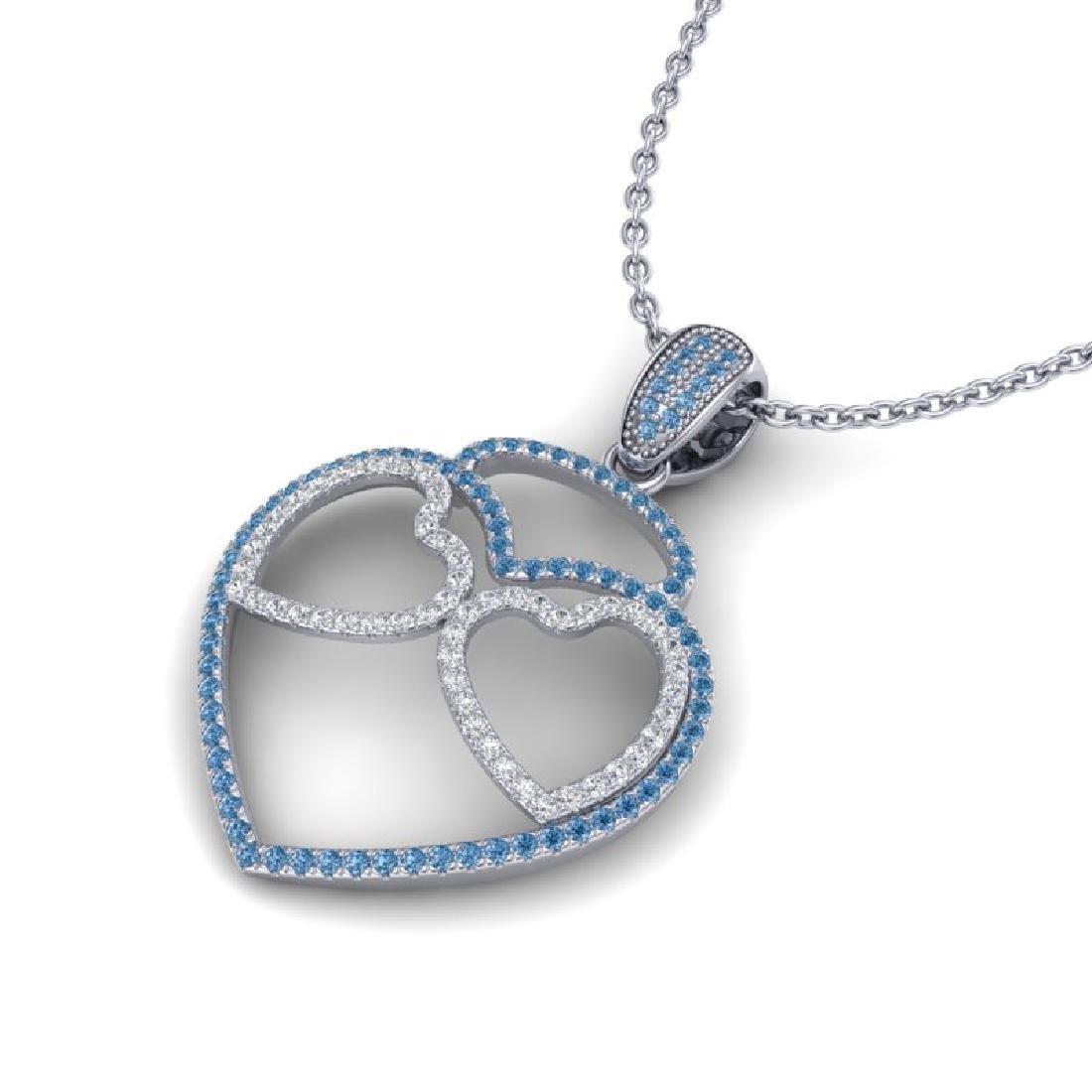 1.20 CTW Blue & Micro VS/SI Diamond Inspired Heart