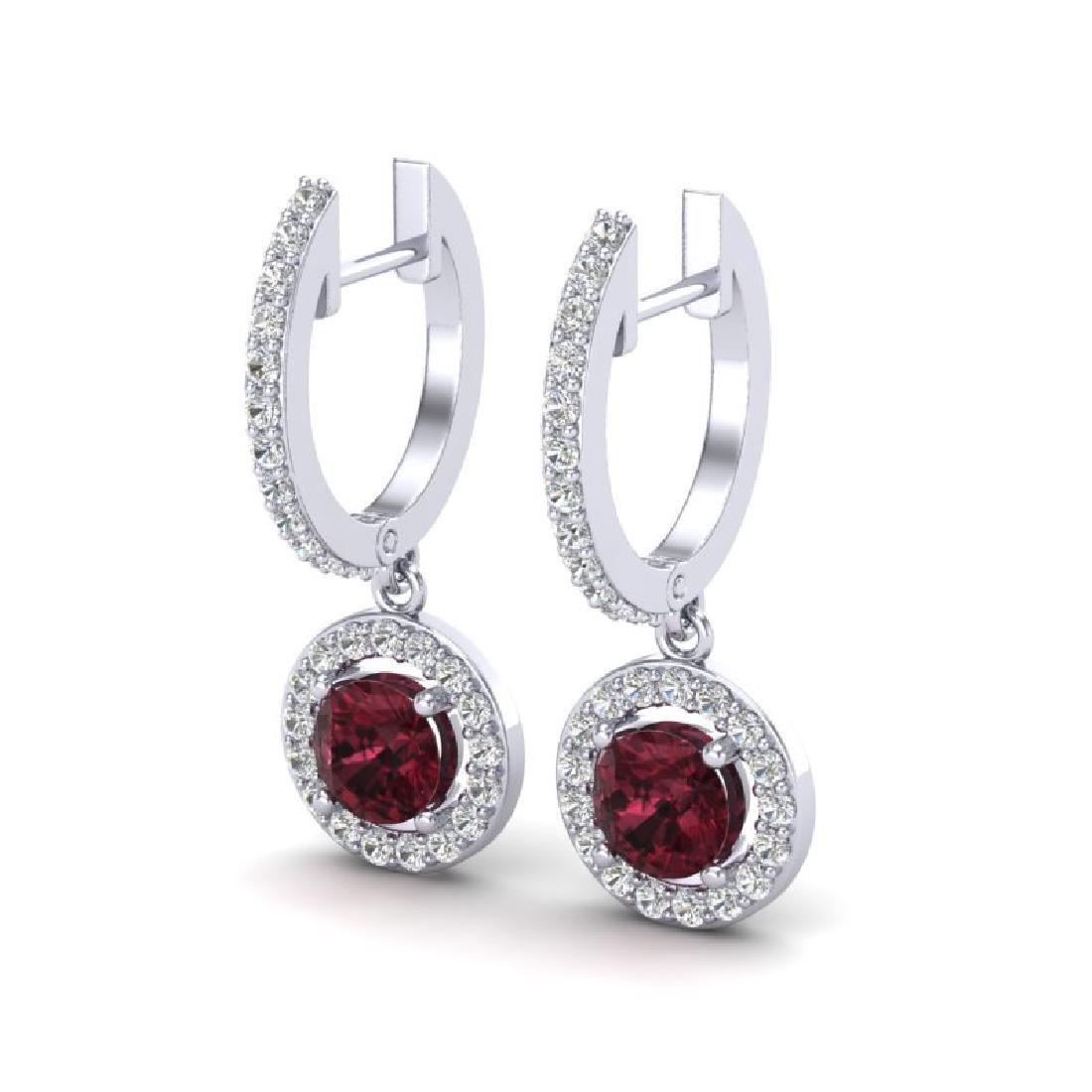 1.75 CTW Garnet & Micro Halo VS/SI Diamond Earrings 18K
