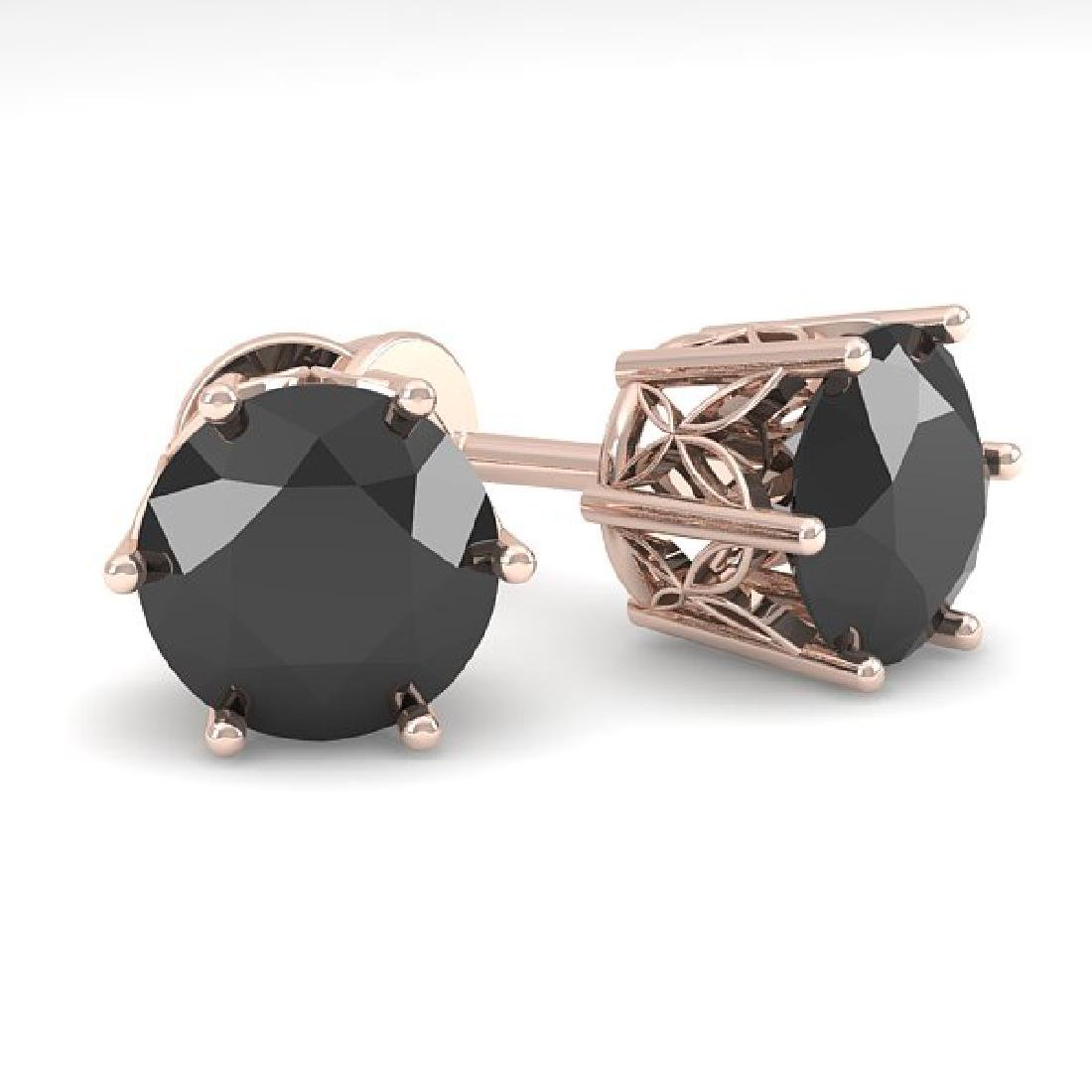 3.0 CTW Black Certified Diamond Stud Art Deco Earrings