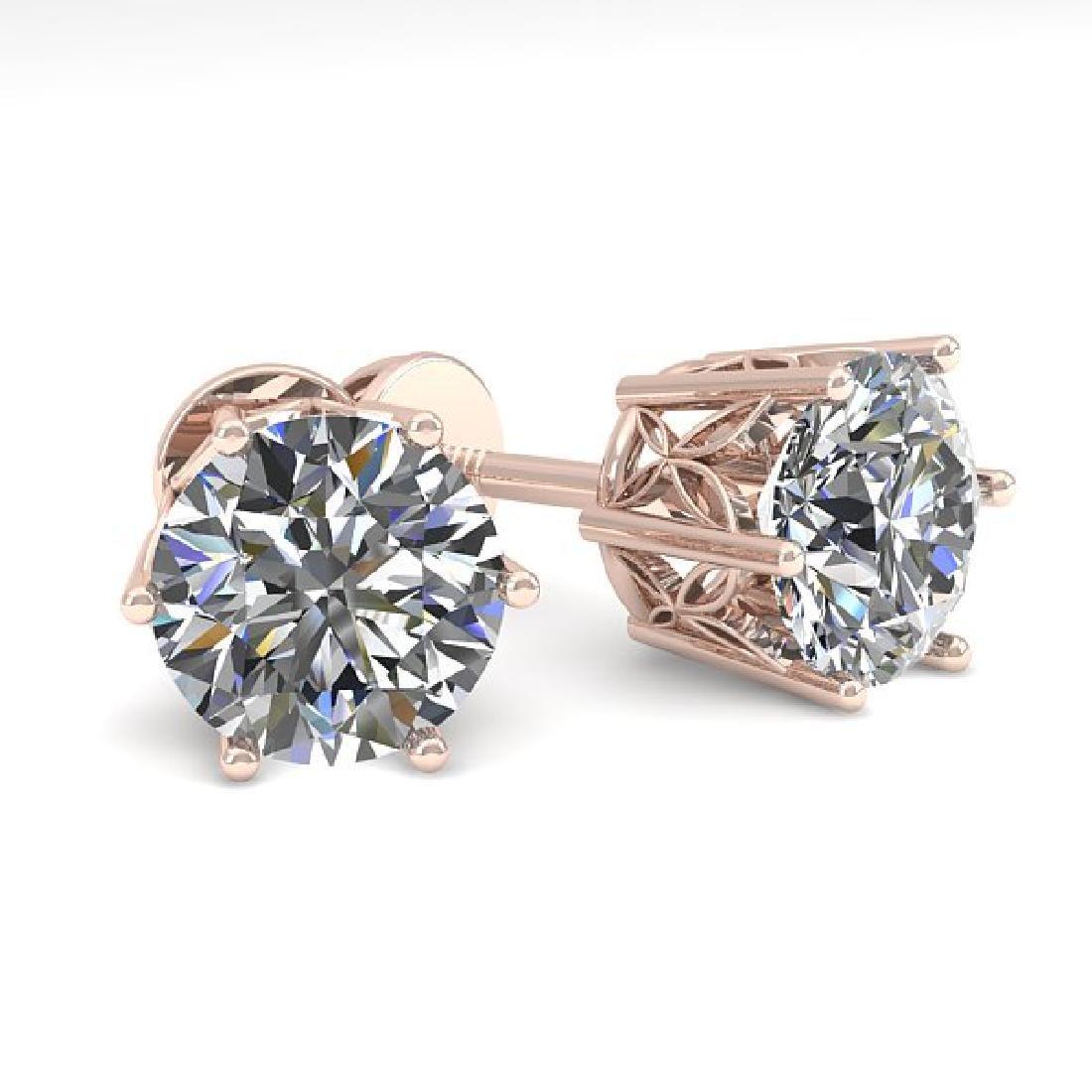 2.03 CTW Certified VS/SI Diamond Stud Art Deco Earrings
