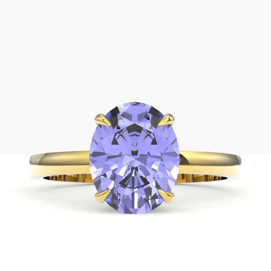 3.50 CTW Tanzanite Designer Inspired Solitaire Ring 18K