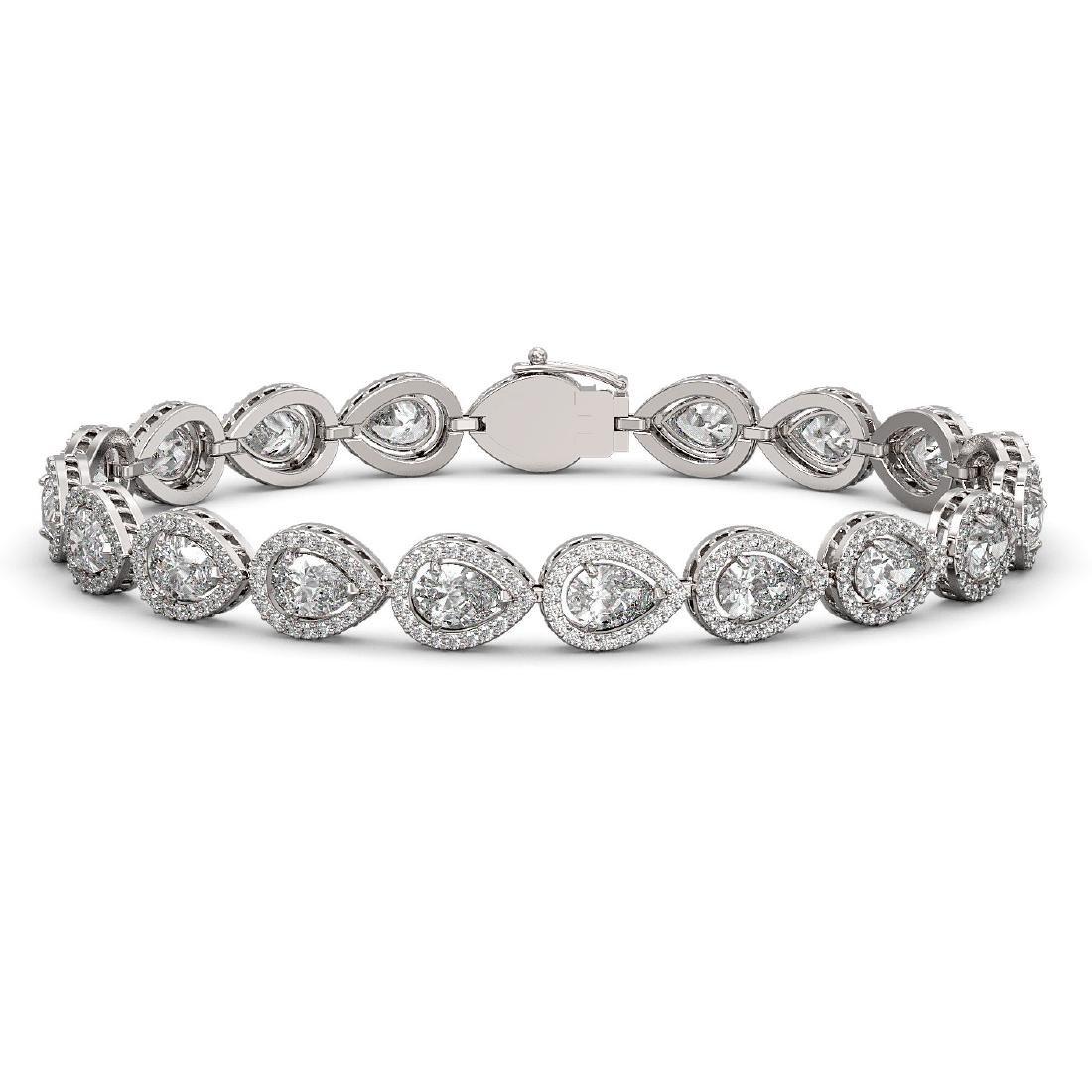 12.38 CTW Pear Diamond Designer Bracelet 18K White Gold