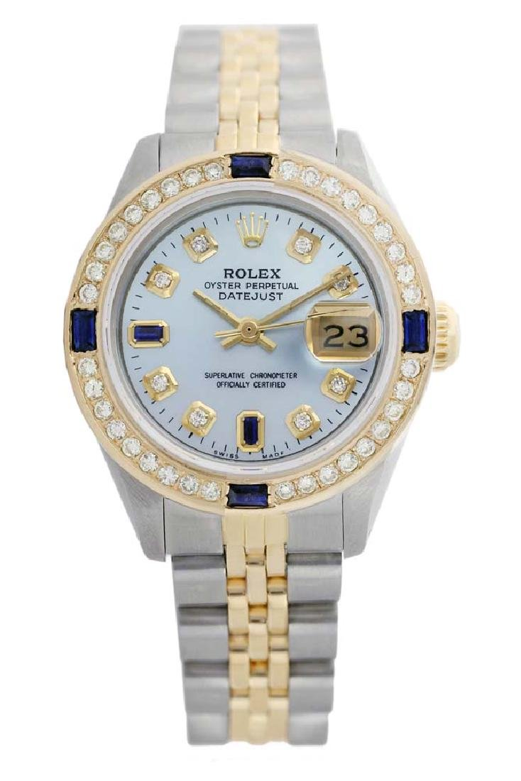 Rolex Ladies Two Tone 14K Gold/SS, Diam/Sapphire Dial &