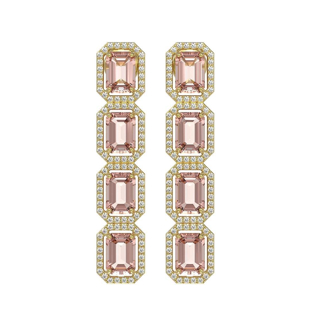 10.73 CTW Morganite & Diamond Halo Earrings 10K Yellow