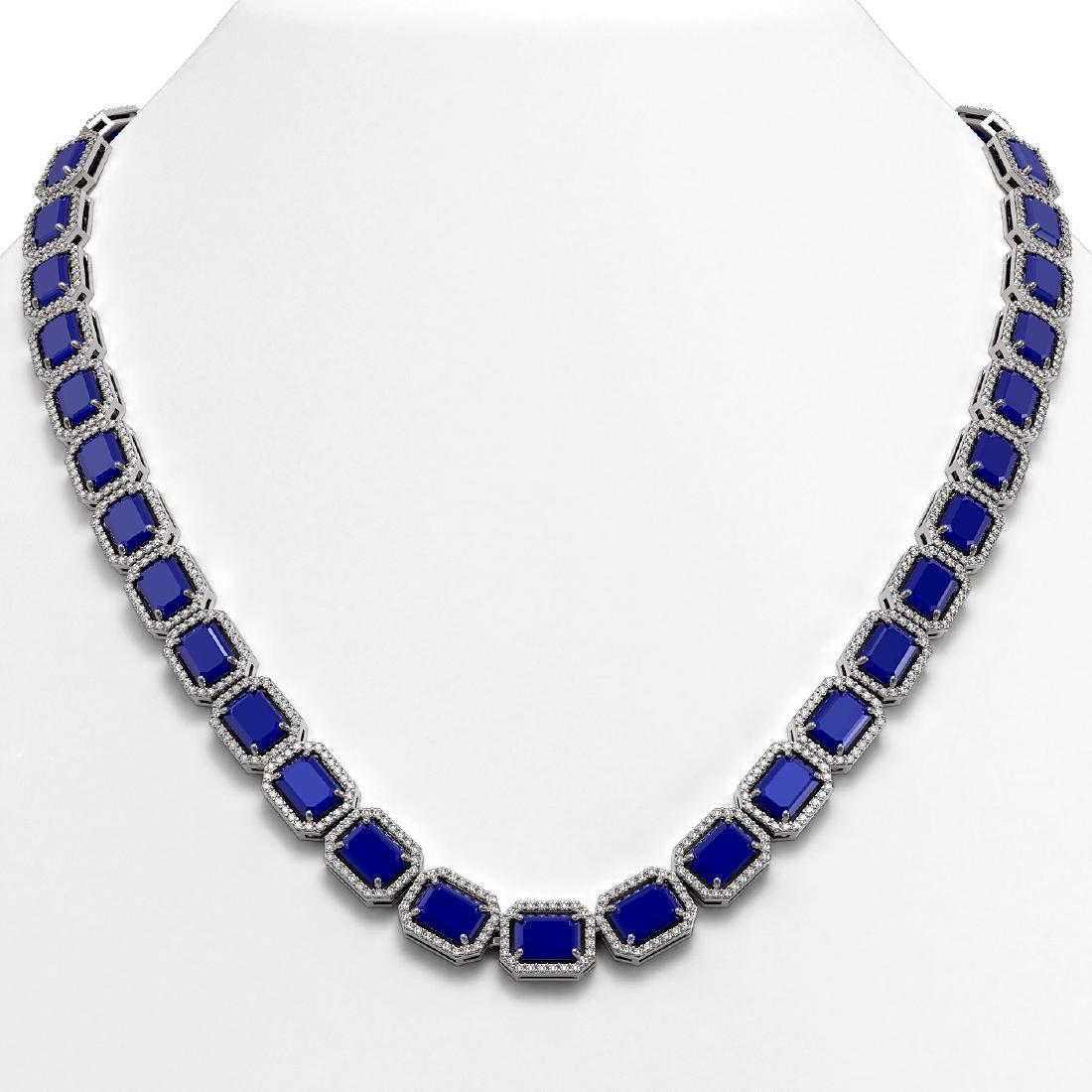 58.59 CTW Sapphire & Diamond Halo Necklace 10K White