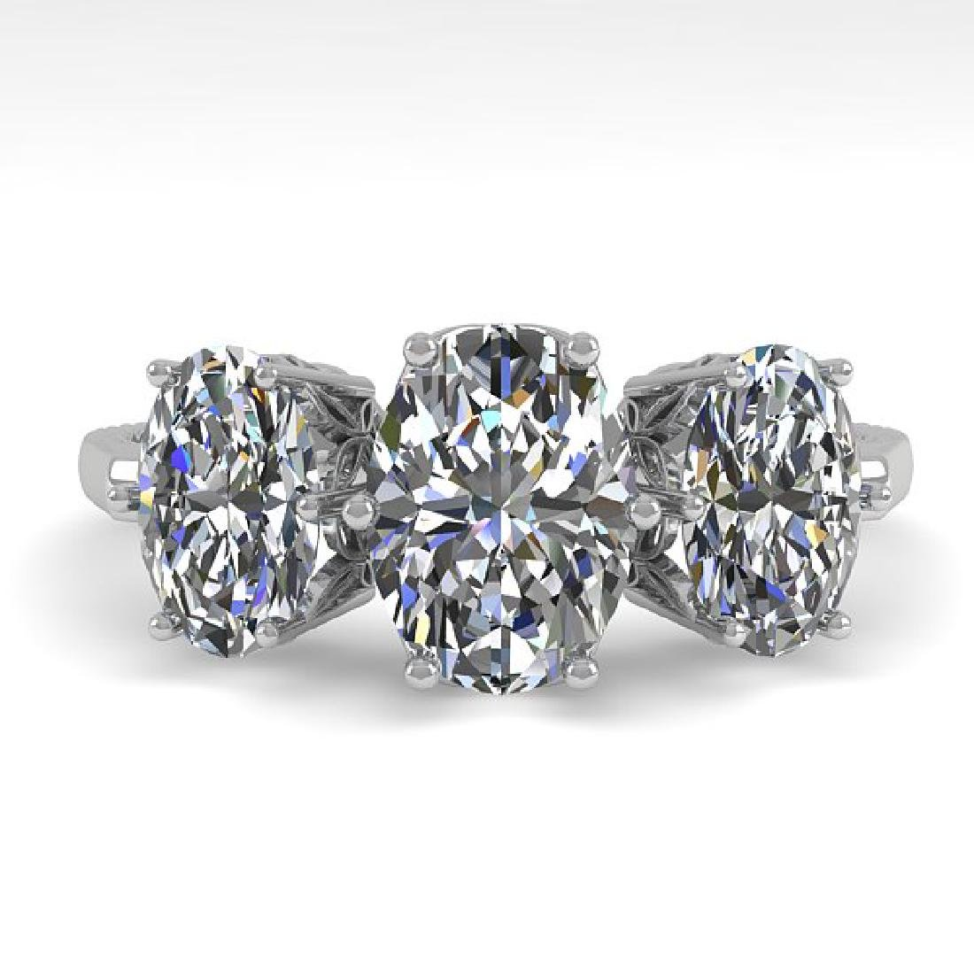 2.0 CTW VS/SI Oval Diamond Art Deco Ring 14K White Gold