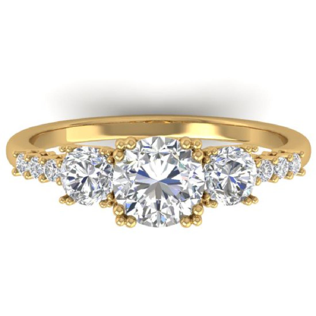 1.5 CTW Certified VS/SI Diamond Art Deco 3 Stone Ring