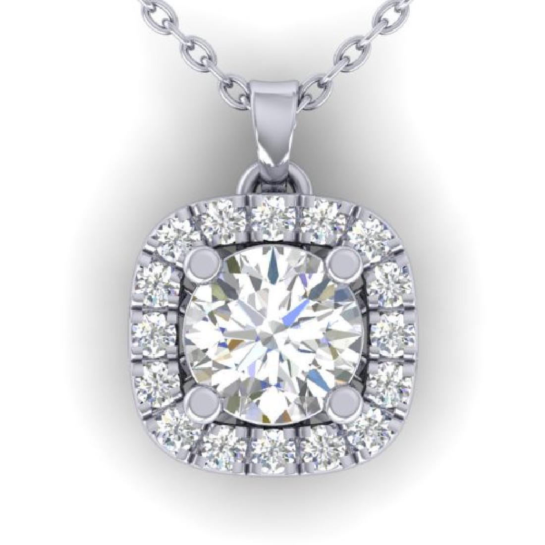1.01 CTW Certified VS/SI Diamond Stud Halo Necklace 18K