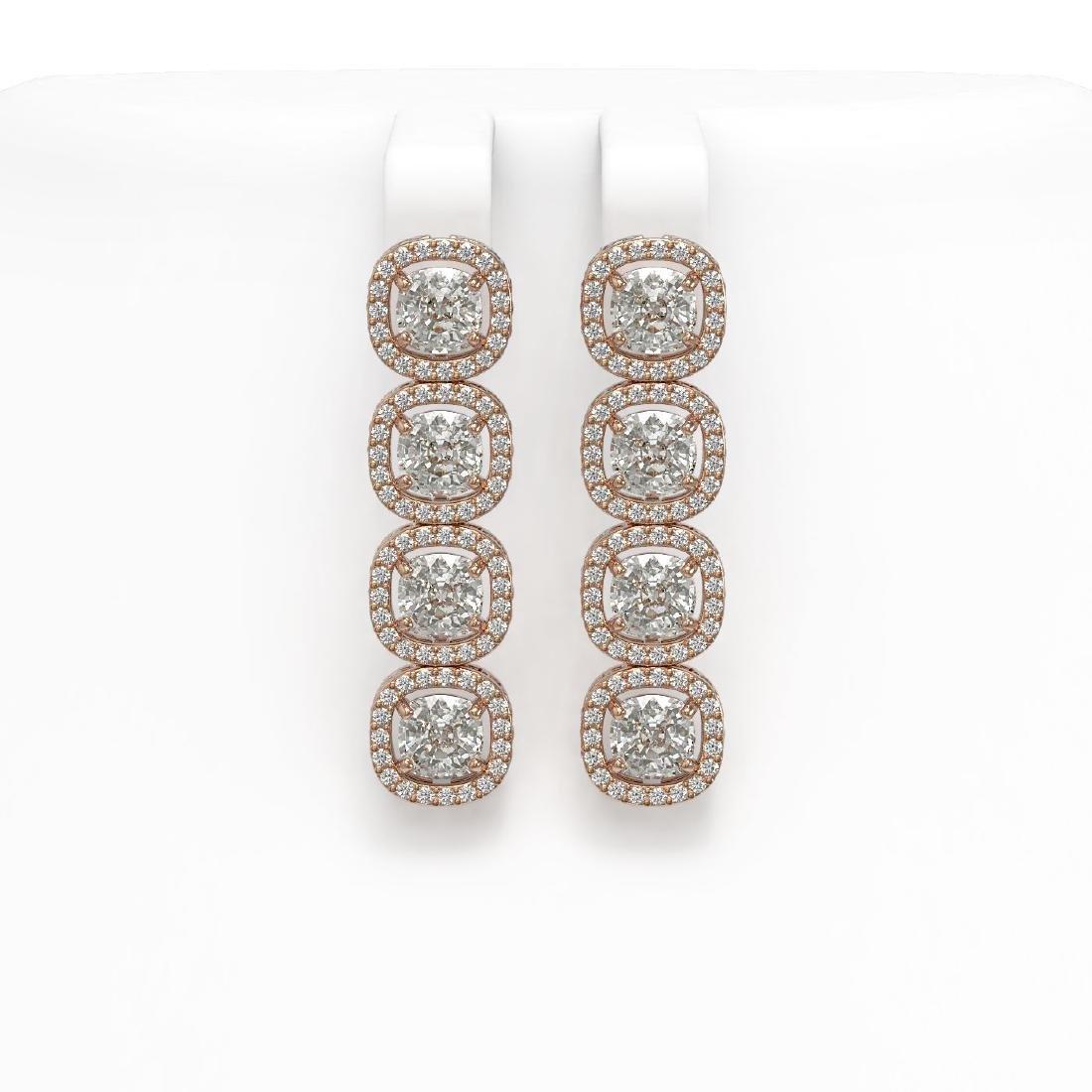 5.28 CTW Cushion Diamond Designer Earrings 18K Rose