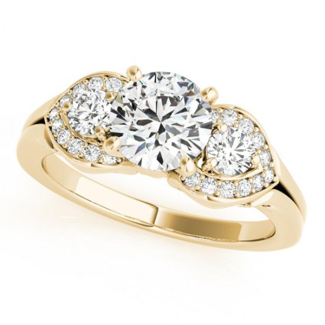 1.7 CTW Certified VS/SI Diamond 3 Stone Ring 14K Yellow