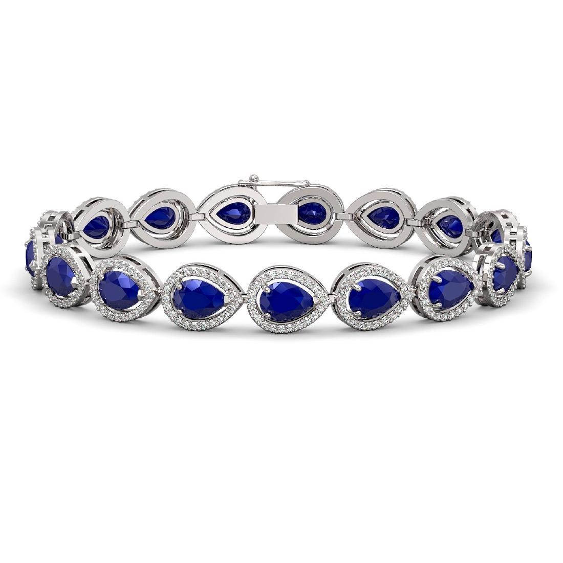 21.69 CTW Sapphire & Diamond Halo Bracelet 10K White