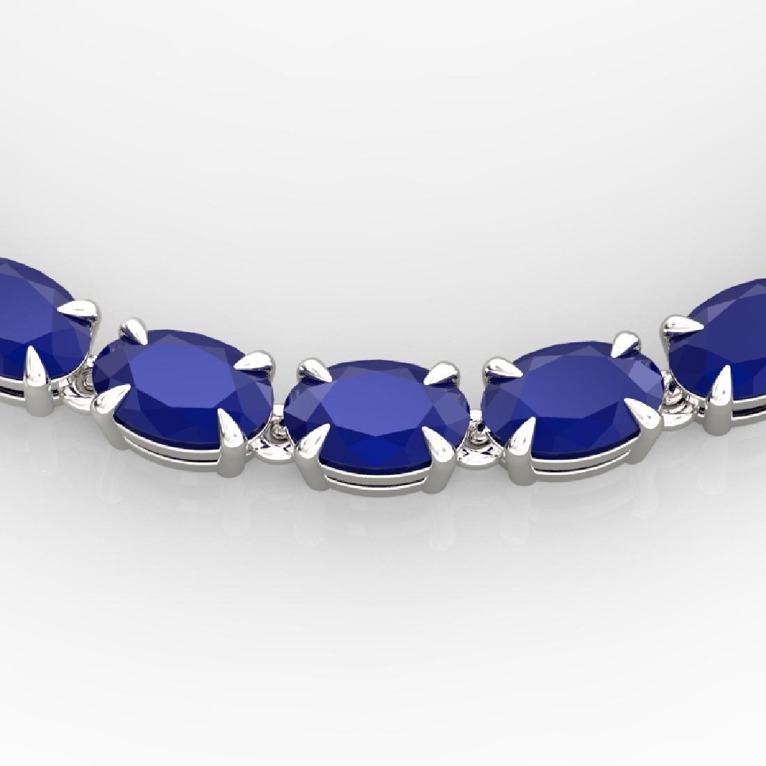 40 CTW Sapphire Eternity Tennis Necklace 14K White Gold
