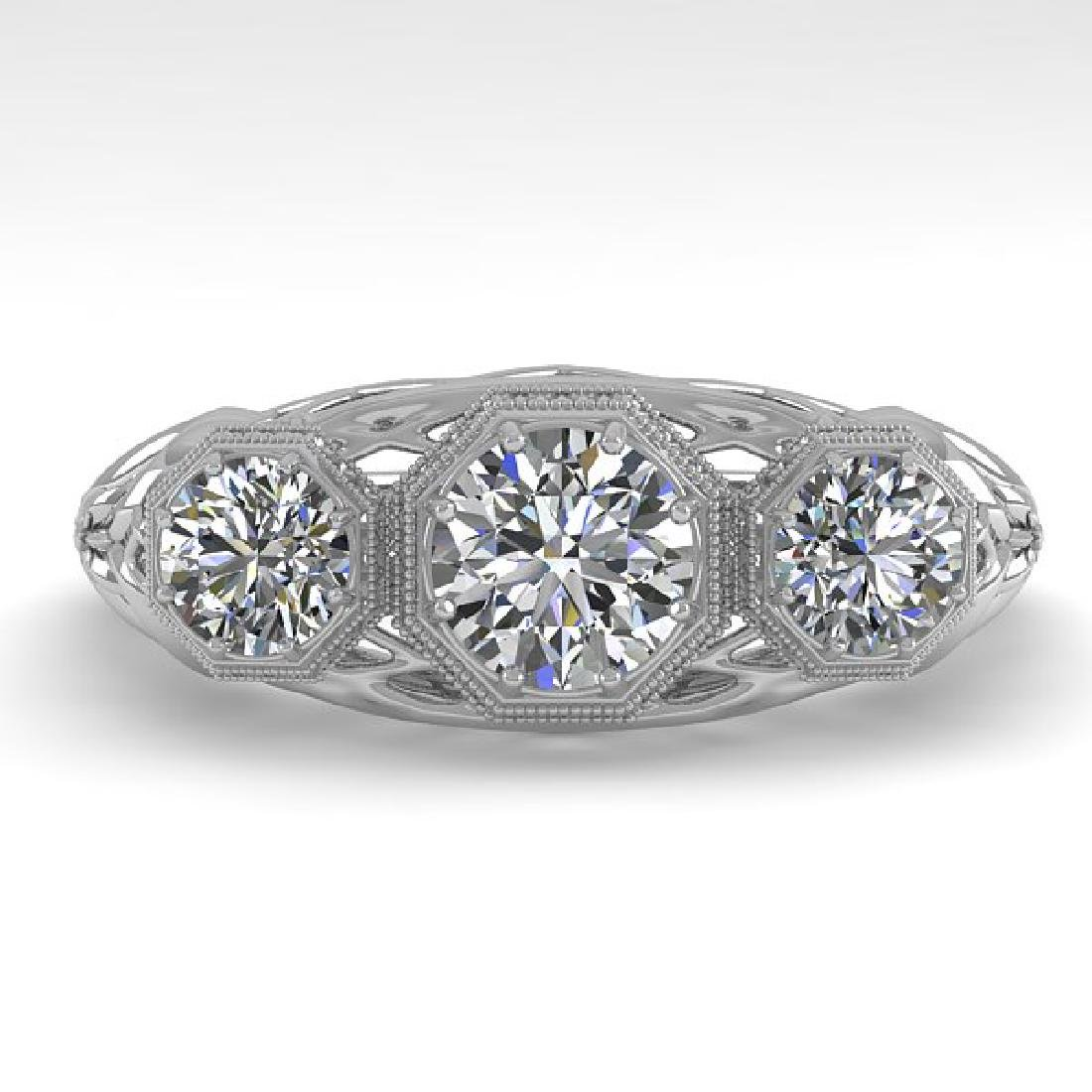 1.00 CTW VS/SI Diamond Art Deco Ring 14K White Gold