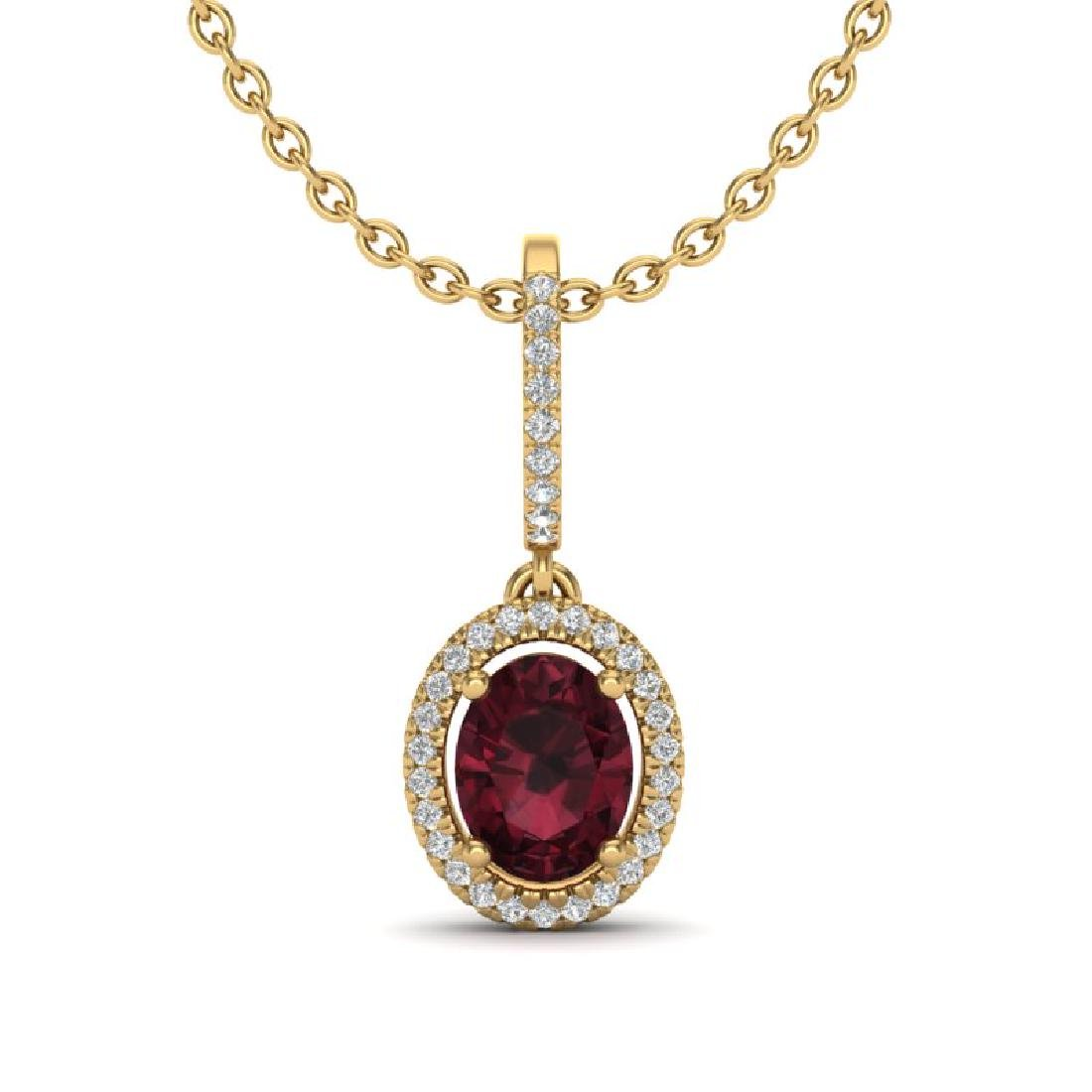 2 CTW Garnet & Micro Pave VS/SI Diamond Necklace