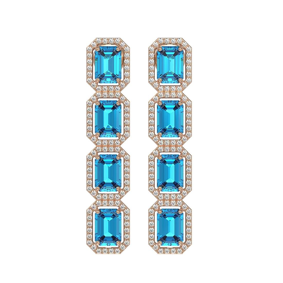 11.13 CTW Swiss Topaz & Diamond Halo Earrings 10K Rose