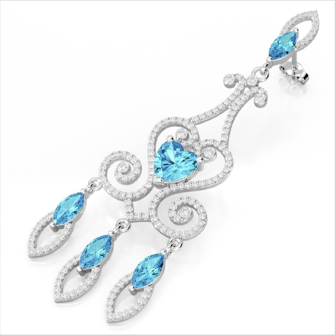 11 CTW Sky Topaz & Micro Pave VS/SI Diamond Earrings