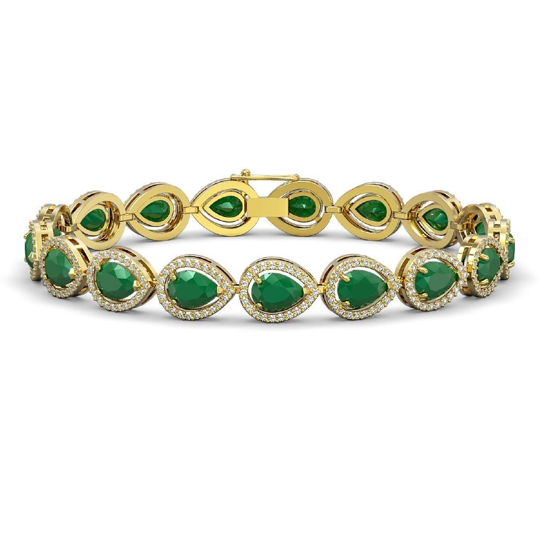 21.69 CTW Emerald & Diamond Halo Bracelet 10K Yellow