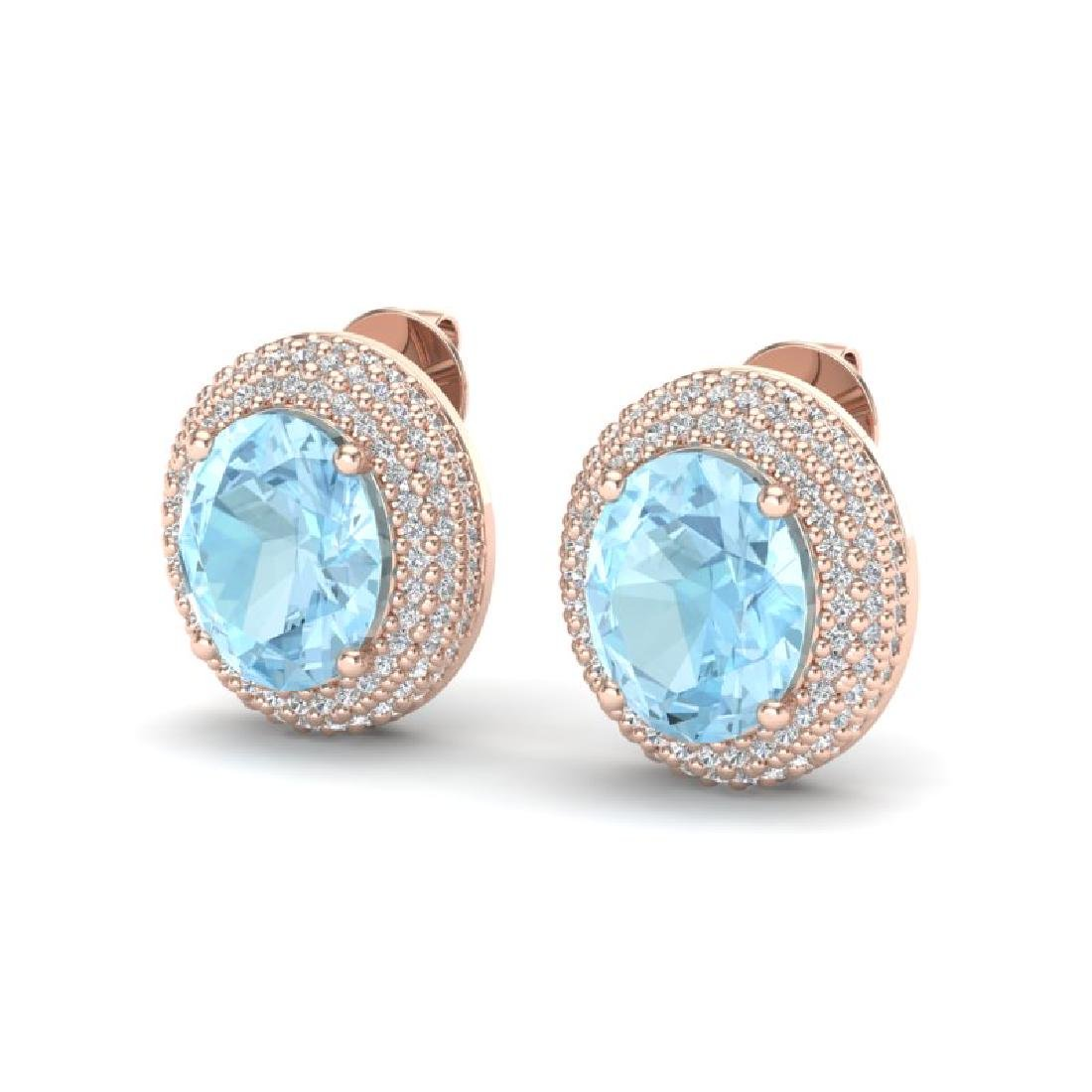 8 CTW Aquamarine & Micro Pave VS/SI Diamond Earrings