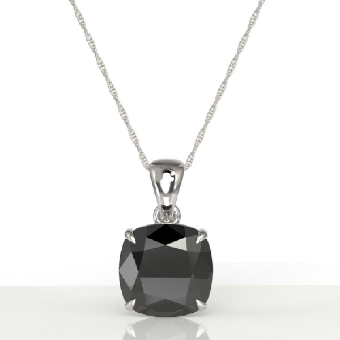 6 Cushion Cut Black VS/SI Diamond Designer Necklace 18K