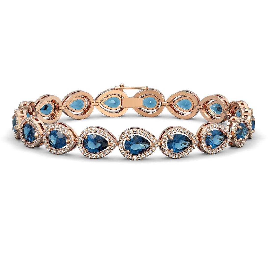16.59 CTW London Topaz & Diamond Halo Bracelet 10K Rose
