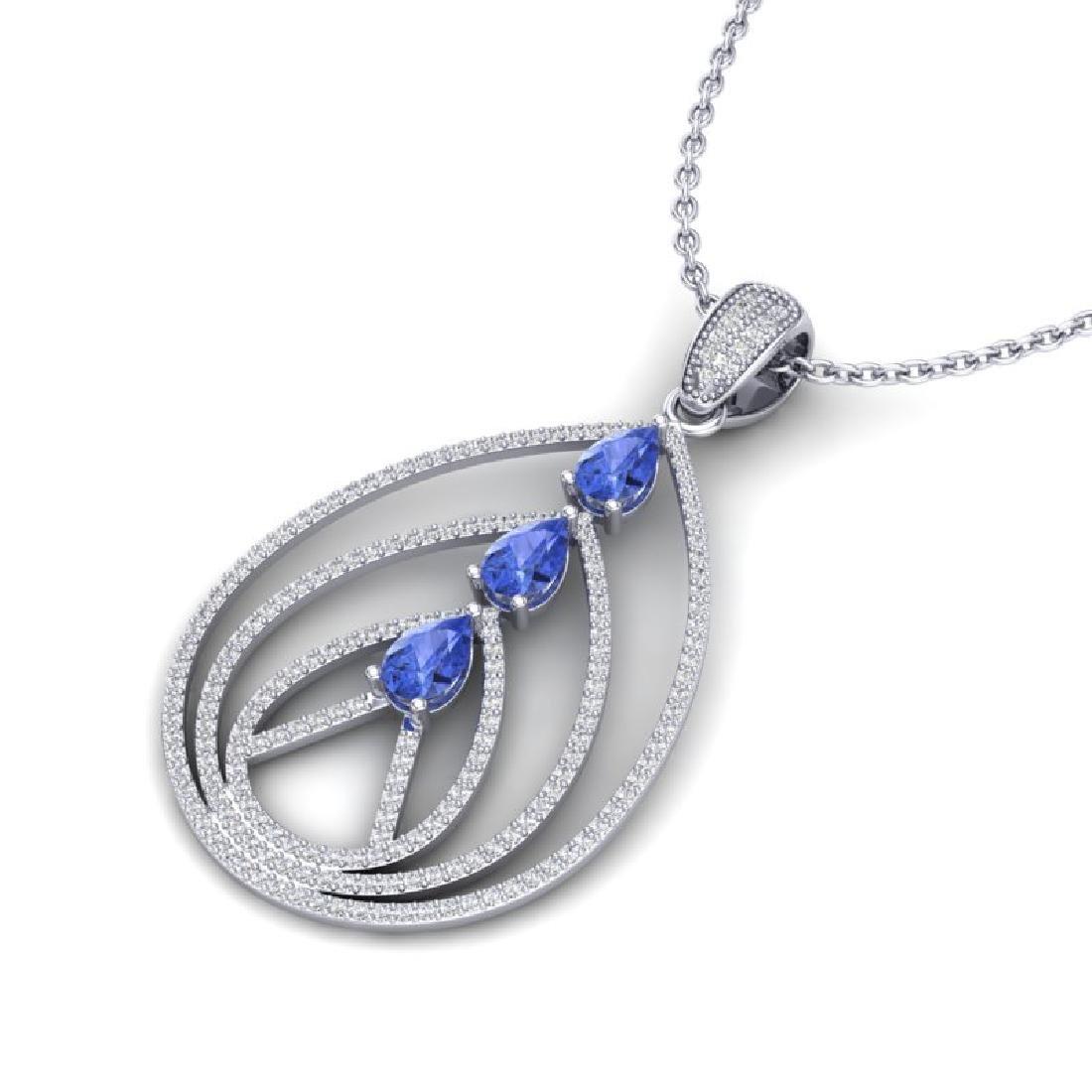 2 CTW Tanzanite & Micro VS/SI Diamond Designer Necklace