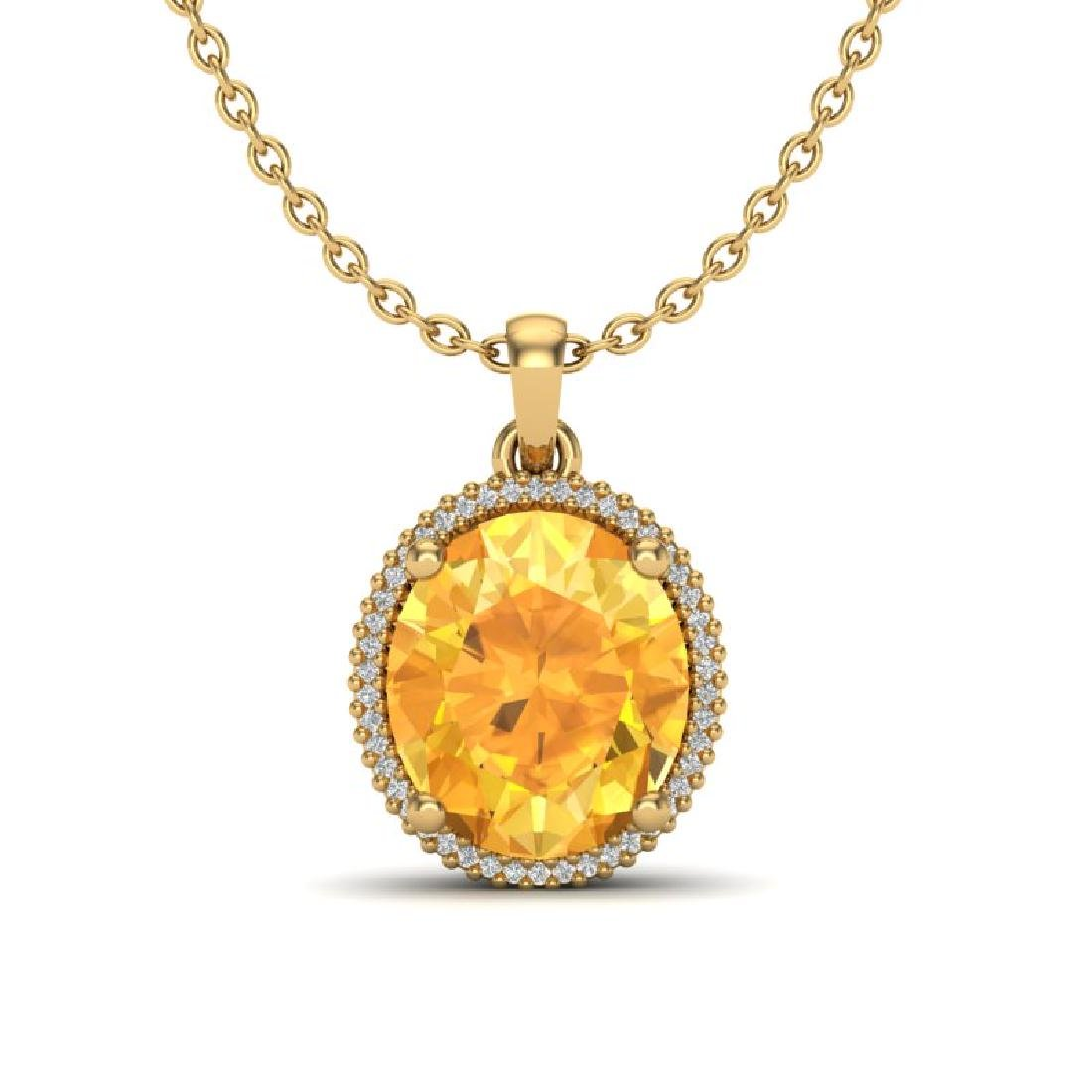 10 CTW Citrine & Micro Pave VS/SI Diamond Halo Necklace