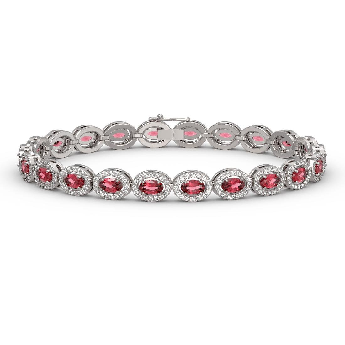10.54 CTW Tourmaline & Diamond Halo Bracelet 10K White