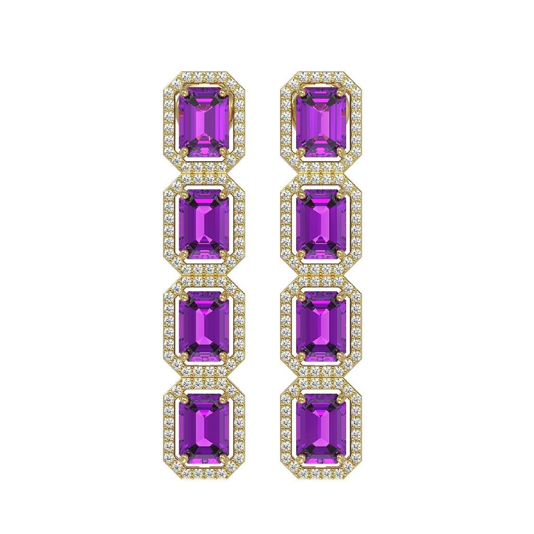 10.73 CTW Amethyst & Diamond Halo Earrings 10K Yellow