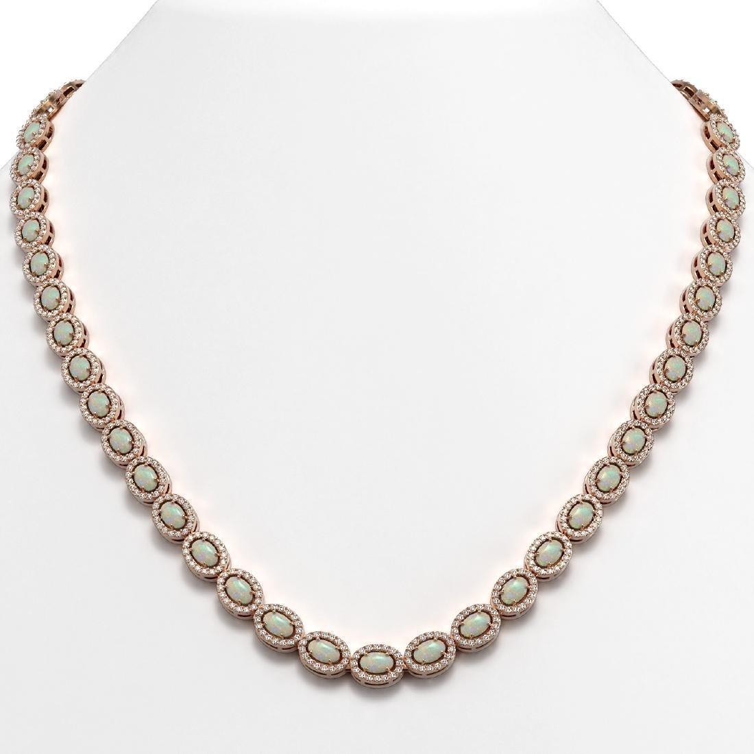 20.22 CTW Opal & Diamond Halo Necklace 10K Rose Gold
